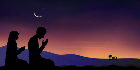 Silhouette Muslim man and woman making a supplication (salah)sitting on desert sand,Arab family and camel walking,Islamic mosque at night with crescent moon and star, Ramadan Kareem background