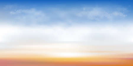 Blue sky with cloud background,Cartoon sky with orang, yellow,pink sky with sunrise.Concept all seasonal horizon banner like a spring and summer in evening, autumn and winter morning
