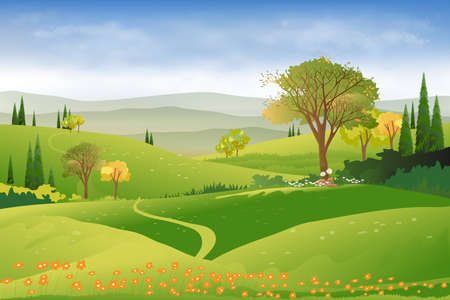 Spring landscape in countryside with green meadow on hills, clouds and blue sky,Vector beautiful Summer fields landscape,Panoramic cartoon village with grass field and wildflower, natural background