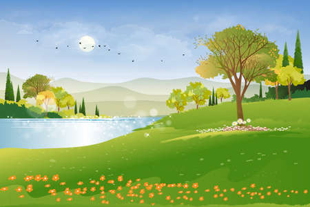 Panoramic of spring village with lake view and mountains with blue sky,Vector cartoon Spring landscape, Panorama countryside in the morning in summer with bright light from sun and reflection on water 向量圖像