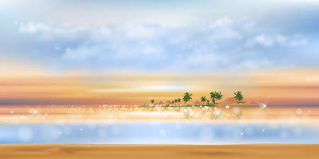 Tropical seascape sunset with blue ocean, coconut palm tree on island,Sea beach landscape with orange, yellow and blue sky,Vector  nature of landscape seaside in morning for Summer background