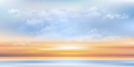 Blue sky with cloud by the sea,Vector Cartoon sky with orang, yellow, pink sky with sunrise.Concept all seasonal horizon banner like a spring and summer in evening, autumn and winter morning