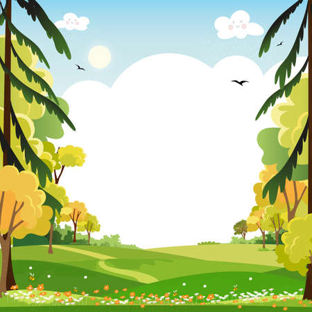 Spring landscape with blue sky and clouds,Panorama Green fields with copy space, fresh and peaceful rural nature in springtime with green grass land. Cartoon vector illustration for kids banner