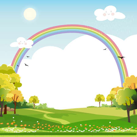 Spring landscape with rainbow,blue sky and clouds with raining,green fields with copy space,fresh and peaceful rural nature in spring or summertime with grass land.Cartoon vector illustration for kids