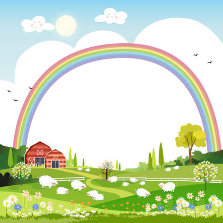 Spring landscape with rainbow,blue sky and clouds with raining, goats and sheep on green fields with copy space,Nature spring or summertime with grass land.Cartoon vector illustration for kids
