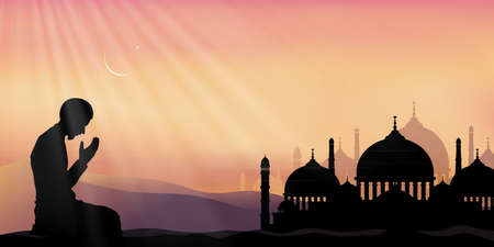 Ramadan Kareem with prayer and mosque, Silhouette Muslim man making a supplication (salah)sitting on desert,Arab person in traditional dress praying outdoor,Islamic mosque with crescent moon and star 向量圖像