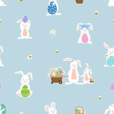 Seamless cute set of Easter stickers, rabbit, egg, flower, basket, bee and cart on blue background, Vector pattern cartoon flat style hand drawn doodle of Happy Easter bunnies collection for Children 向量圖像