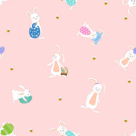 Seamless cute set of Easter paper cut, rabbit, egg bee on pink background, Vector pattern cartoon flat style hand drawn doodle of Happy Easter bunnies collection for Children fabric or print