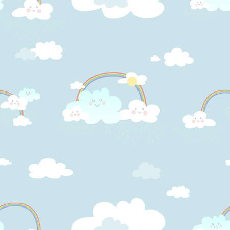 Seamless rainbow and smiling cloud with raining on blue sky background,Cute vector of clouds scape in rainy season with bright colour tone for kids fabric elements for new born baby boy or girl