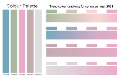 2021 Trend colour gradients for spring summer background design, Creative pastel colors palette set for greeting card, flyer, invitation, poster, brochure, banner,calendar and website