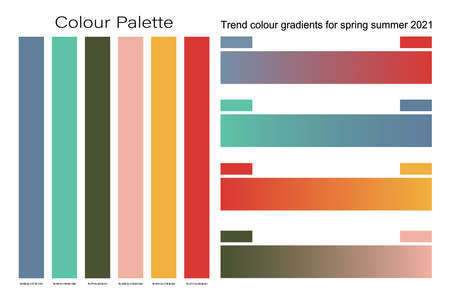 2021 Trend colour gradients for spring summer background design, Creative pastel colors palette set for greeting card, flyer, invitation, poster, brochure, banner, calendar, website and holiday