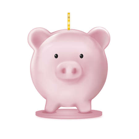 front view Piggy bank 3D on white background, Isolate Pink pig Vector mesh for advertising, Design template for graphic banner, financial, savings and security of money storage 向量圖像