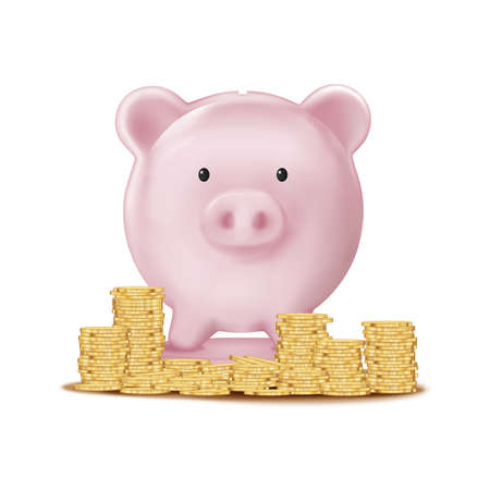 front view 3D Piggy bank and Stack coin on white background,Isolate Pink pig Vector mesh for advertising,Design template for graphic banner,financial,savings and security of money storage for New Year