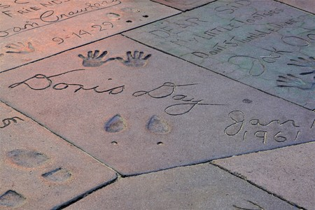 Los Angeles, California, USA - September 18, 2018: Hands and Foots Printed of Doris Day famous Movie Star and singer on the Hollywood Walk of Fame on Hollywood Blvd in Los Angeles, California. 에디토리얼