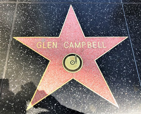 Hollywood, LA, USA - September 18, 2018: Glen Campbell's star sign on Hollywood Walk of Fame is located on Hollywood Blvd.
