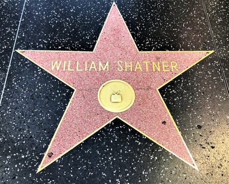 Hollywood, LA, USA - September 18, 2018: William Shatner's star sign on Hollywood Walk of Fame is located on Hollywood Blvd. 에디토리얼