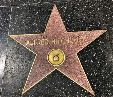 Hollywood, LA, USA - September 18, 2018: Alfred Hitchcock's star sign on Hollywood Walk of Fame is located on Hollywood Blvd. 에디토리얼