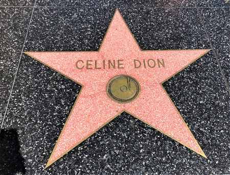 Hollywood, LA, USA - September 18, 2018: Celine Dion's star sign on Hollywood Walk of Fame is located on Hollywood Blvd.