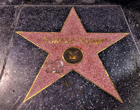 Hollywood, LA, USA - September 18, 2018: Donald Trump's star sign on Hollywood Walk of Fame is located on Hollywood Blvd. 에디토리얼