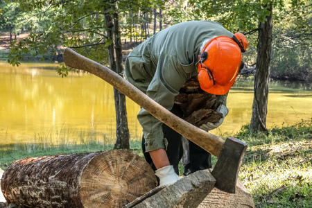 A man working with the log, he put the big axe embeded in the block of wood on the background of the pond, Summer in GA USA. 免版税图像