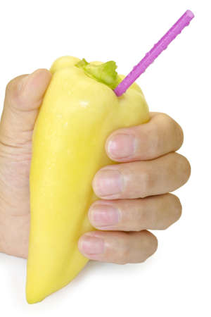 vitamines: Not only fruit juice but also vegetable one are full of vitamines.  Fresh fragrant sweat pepper can present to you an exotic drink. Stock Photo