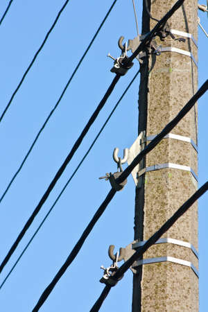 mountings: Pole with mountings, electric cables and wires