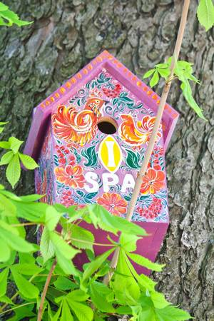 Homemade painted colorful wooden bird house on a tree in spring Stock Photo - 9878135