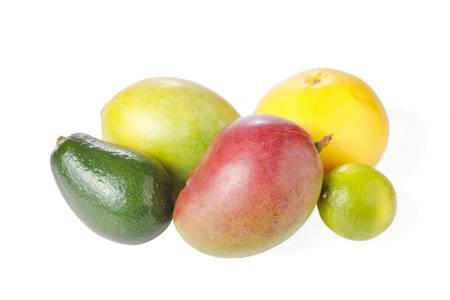 Mix of fresh tropical fruits isolated on white (avocado, grapefruit, mango, lime) photo