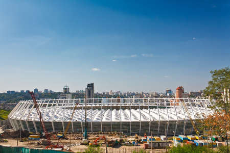 Soccer stadium under construction for 2012 European Football Championship - National Olympic Football Stadium in Kiev, Ukraine.  Stock Photo - 10755077