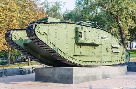 mk: Ejemplo �nico de luz britain batalla de tanques Mark V o Mk V de la Primera Guerra Mundial en Lugansk, Ucrania