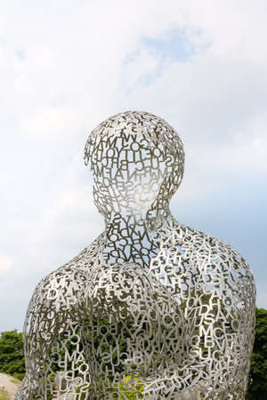 KIEV, UKRAINE - JUN 04  sculpture Body of Knowledge from Jaume Plensa on June 04, 2012 in Kiev, Ukraine  Exhibition of contemporary art  Kyiv Sculpture Рroject