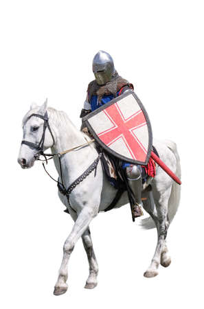 jousting: Armoured knight on white warhorse isolated on white