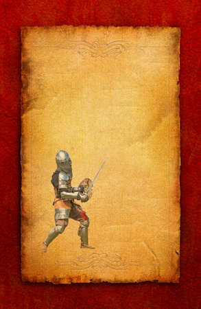 Armored knight with sword and shield - retro postcard on poster vintage paper background photo