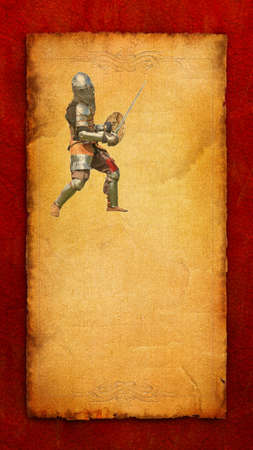 hauberk: Armored knight with sword and shield - retro postcard on vertical vintage paper background