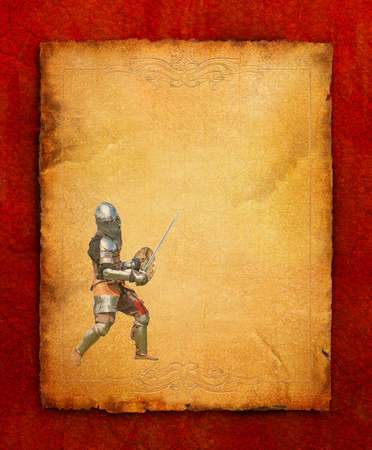 Armored knight with sword and shield - retro postcard on portrait vintage paper background photo