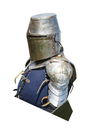 hauberk: Armored knight with shield isolated on white Stock Photo
