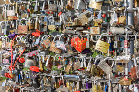 Close-up of a large number of love locks representing everlasting love and romance
