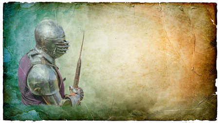 Armored knight with  battle-axe - retro postcard on landscape vintage paper background photo