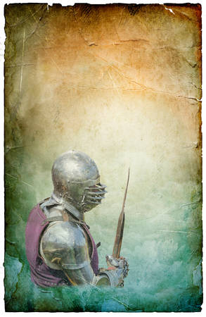 Armored knight with battle-axe - retro postcard on poster vintage paper background photo
