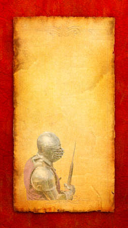 Armored knight with battle-axe - retro postcard on vertical vintage paper background photo