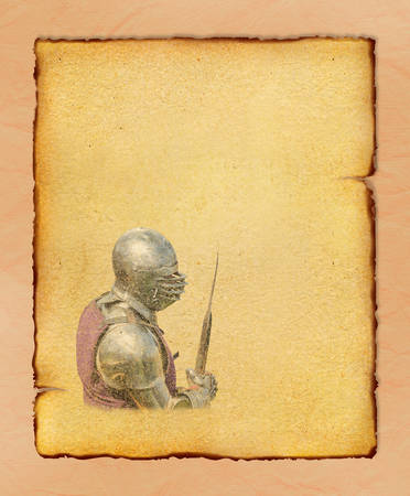 Armored knight with battle-axe - retro postcard on portrait vintage paper background photo