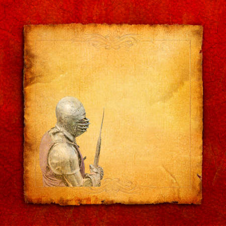 Armored knight with battle-axe - retro postcard on square vintage paper background photo