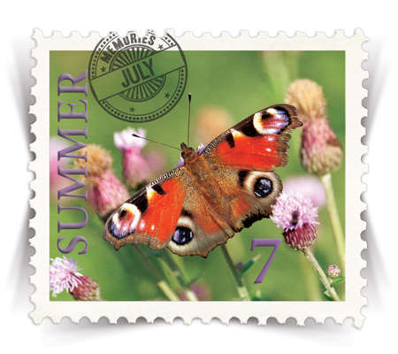 Label for seasonal products ads or calendars stylized as vintage post stamp (July - 7 of 12 set)  photo