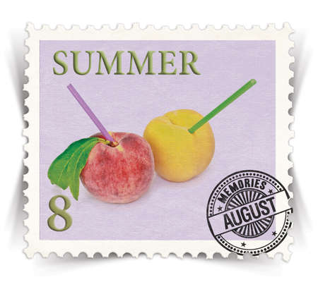 advertize: Label for seasonal products ads or calendars stylized as vintage post stamp (August - 8 of 12 set)