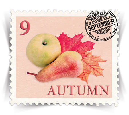 advertize: Label for seasonal products ads or calendars stylized as vintage post stamp (September - 9 of 12 set)  Stock Photo
