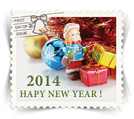 advertize: Label for seasonal ads or new year greeting cards stylized as vintage post stamp (Happy New Year 2014) Stock Photo