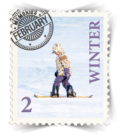 advertize: Label for seasonal products ads or calendars stylized as vintage post stamp (February - 2 of 12 set)