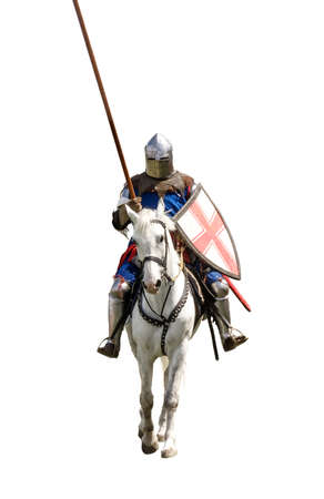 mediaeval: Armoured knight on white warhorse isolated on white