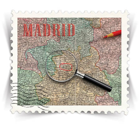 advertize: Label for Madrid tourist products advertisements stylized as vintage post stamp