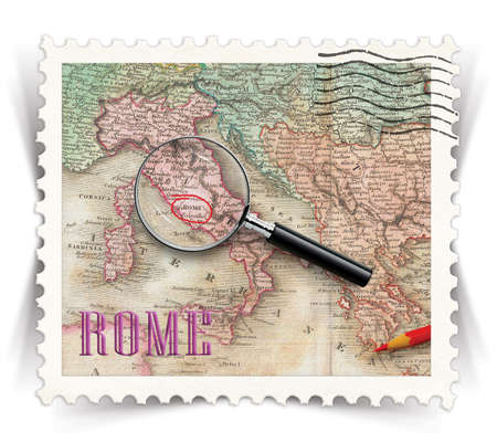 Label for Rome tourist products advertisements stylized as vintage post stamp photo